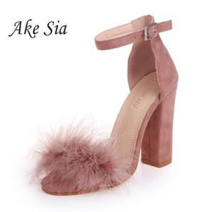 Ankle Strap Salto Alto Faux Fluffy Coelho Fur Mulher Sandálias 2019 Senhora do verão casamento Grosso do salto alto Partido Shoes S118
