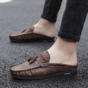 Кисточкой скольжения на половину обувь для мужчин дышащий Half Drag Backless Мокасины Обувь Мужская Мужчины Лето Тапочки Квартиры Ленивый вождения