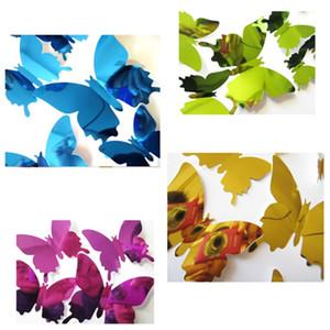 12pcs calientes / set PVC etiqueta de la pared DIY estereoscópica etiqueta de la mariposa Espejo de pared de la ventana 3D Fondos de Navidad decoraciones Homeware T2I5563