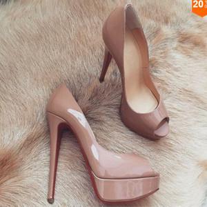 Chaussures De Mariage Pour Femmes Bas Rouge Peep-Toe En Cuir Verni Bas Rouge Talons Hauts 14cm Chaussures Femme Talons Imperméables Robe Pompes Taille US 34-45