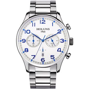 Holuns Marca Moda Hombres de Acero Inoxidable Completo Militar Reloj Deportivo Casual Impermeable Relogio masculino Reloj de pulsera de Cuarzo Venta Y19051703