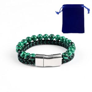 Doble pulsera tejida con cuentas hombres y mujeres temperamento encanto cuero estiramiento pulsera de piedra natural bolsa de regalo embalaje