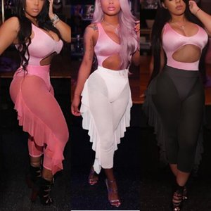 2019 Sexy Summer en mousseline de soie Casual Voir au travers Pantalons solides Femmes Mesh Costume Sheer Clubwear bain Pant Vêtements Pantalons