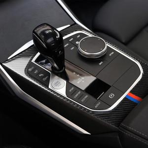 BMW 3 시리즈 G20 G28에 대한 탄소 섬유 실내 센터 콘솔의 시프트 기어 패널 멀티미디어 핸들 커버 스티커