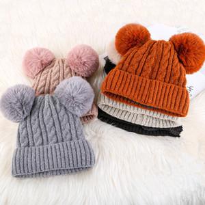 Cappello di lana capelli cappello di inverno Uomini E Donne New adulti più velluto Double Ball testa calda Carino maglia Cappello Tide EEA580