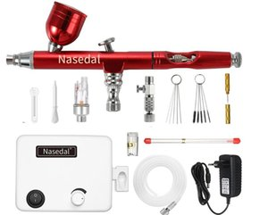 Nasedal Airbrush Kit compresseur rouge à double action Air Pinceau pistolet maquillage ongles peinture Pistolet Body Tattoo voiture