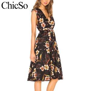 MissyChilli Sexy V-Ausschnitt ärmellose Frauen kurzes Kleid Weibliche Blumendruck Vintage-Kleid Sommerfest de Fiesta bodycon
