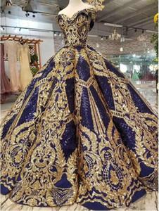 Luxus Gold Pailletten Ballkleid Quinceanera Kleider Spitze Appliqued Party Kleid Schatz Sparkle Sweet 16 Vestidos de 15 Años
