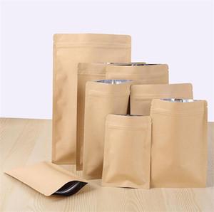 11 Tamaños cremallera kraft marrón papel kraft bolsa de pie de aluminio papel de aluminio bolsa de bolsa resellable bloqueo postal sello de agarre de calidad alimentaria