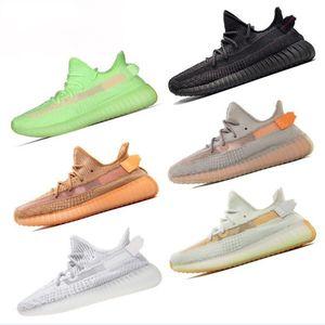 2020 YECHEIL Yeehu Kanye West Course à pied Chaussures GID Vert Noir réfléchissant Antlia Citrin White Cloud Hommes Femmes Chaussures ETUI