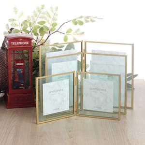 مزدوجة أضعاف إطار العائمة للصورة يترك الذهب والفضة معدن مضغوط زجاج إطارات الصور الزفاف ديكور العمودي 4x4 4x6 5x7