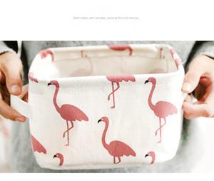 5 Flamingo INS stile Cestino portaoggetti desktop Stampa carina Organizzatore impermeabile Lino in cotone Articoli vari Scatola di immagazzinaggio Borsa per armadio B