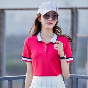 BabYoung Nueva Summer Tops para las camisas de las mujeres rayadas Polo con todas correspondan manga corta T200620 Estilo del collar de las mujeres coreanas