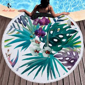 Ariel Sarah Hot Round Badetuch Green Leaf Badetuch Mit Quasten Mikrofaser Picknickdecke Matte Tapisserie 2019 Y190727