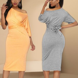 2019 One Shoulder Party Dress Plain Soft Comfort Desses Slim Bodycon Night Club Dress Party Clothing Women LQ5181