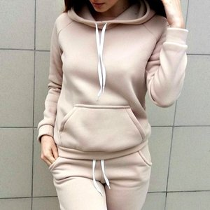 Nouveaux Femmes Polaires Sweat-shirts Set Survêtement Casual Pulls Sweats à capuche Sweat-shirt + pantalon Sportwear Costume Costumes Track