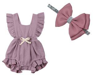 Горячая 6 Цвет Baby Girl рябить сплошной цвет комбинезон Комбинезон наряды Sunsuit (оголовье+комбинезон) для новорожденных Детская одежда Детская одежда 1 компл. / 2 шт.