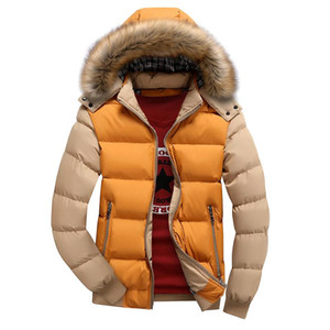 Winter Down Coat Men Casual Fur Hooded Cotton Padding Parka Mens Brand Windproof Patchwork Windbreaker Jackets Male Size S-4XL