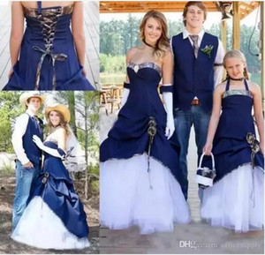 Cowboy Country Camo Wedding Dresses 2019 Sweetheart Pleats Corset Back A Line Floor Length Vintage Garden Bridal Gowns Vestidos De Noiva