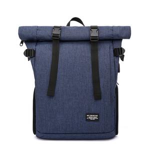 Multifuncional Foto acolchoado saco de poliéster impermeável SLR Camera Shoulder Backpack 15 Laptop Caso polegadas com porta USB
