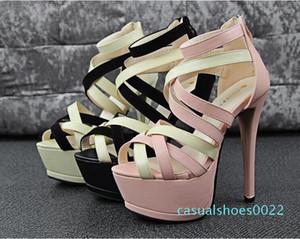 Оптовая продажа-2015 новая мода Женщины золото серебро крест ремни высокий плоский каблук колено высокие гладиаторские сандалии novos moda sandalia gladiadora c22