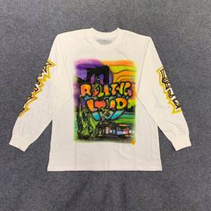 2020 Moda Outono EUA New York hip hop Travis Scott Cactus Jack rolamento alto camisa Graffiti manga comprida T Skate Homens Mulheres Tee