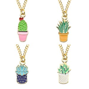 Nette Karikatur-Topfpflanzen Sukkulente Kaktus-Anhänger-Halskette Mini-Emaille-Pflanze Schmuck Mode Halskette Collier Kragen
