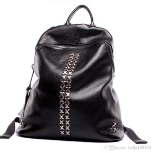 fasion luxury Backpacks Genuine leather rivet Shoulder School Bags For Teenagers Girls Laptop Backpack Waterproof Travel Bagpack Lady's
