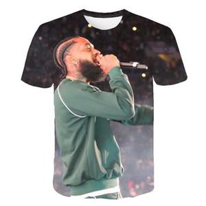 Fashion-Nipsey Hussle Summer Herren T-Shirts 3D Digital bedruckte kurzärmelige Marke Rapper Männlich O-Neck T-Shirts Jugendliche Designer-Kleidung
