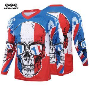 KEMALOCE France Motocross Jersey Blu MTB Motocross T shirt manica completa unisex Ciclo Moto Top Race Mountainbike Downhill Jersey