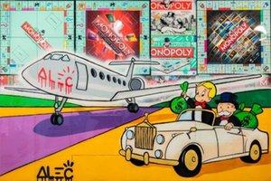 Tuval Wall Art 200.511 üzerinde Alec Tekel Artworks MONOPOLY VE RICHIE SÜRÜŞ ÜZERİNE RUNAWAY Ev Dekorasyonu Handpainted HD Baskı Yağlı Boya