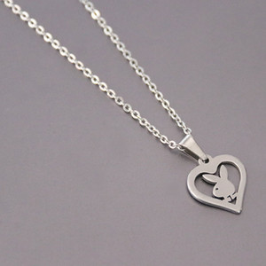 Wholesale 10pc lot Little Bunny Stainless Steel Custom Necklace Rabbit Heart Pendants Necklaces Women Kids Fashion Minimalist Jewelry SN149