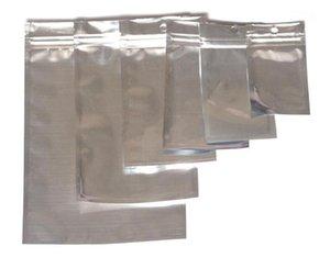 Argento alluminio foglio trasparente valvola richiudibile con cerniera in plastica al dettaglio imballaggio imballaggio borsa da imballaggio con cerniera pacchetto sacchetti sacchetti 12 * 20 15 * 22 cm
