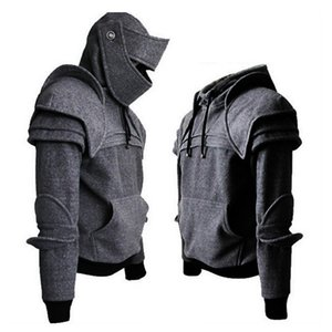 CySincos Erkek Ortaçağ Knight Erkekler Kostüm Maskesi Y200519 Vintage Hoodies Asker Zırh Kazak Cosplay Kazak Tops Kapüşonlu SXHSV Tops