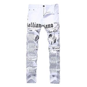2019 hommes jeans Denim Imprimer Painted Pantalons Mots Casual haute élastique extensible mode droite à mi taille Livraison gratuite