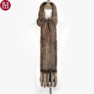 Mujeres bufanda de piel de visón real 100% genuina piel de visón real silenciador de buena calidad al por mayor y al por menor 2017 bufandas de punto de piel de visón real
