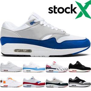 nike air max 1 shoes Nuovo arrivo una scarpa 87 ° anniversario Royal Blue parra Uomini Donne Scarpe da corsa classica atomica Teal azzurro dell'università lAthletic Zapatos