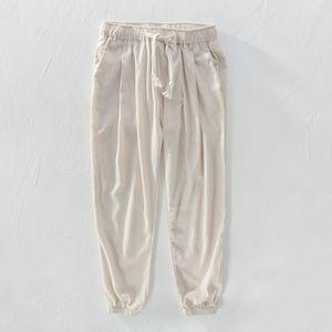 pantaloni S-4XL (29-40 boyutu) Ayak bileği uzunlukta pantolon erkekler rahat elastik bel pantolon erkekler marka moda pamuk ve keten pantolon