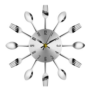 2019 Home Decorations Noiseless Stainless Steel Cutlery Clocks Knife and Fork Spoon Wall Clock Kitchen Restaurant Home Decor Y200110