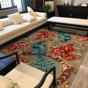 Area Rug for Living Room Chinese Auspicious Flower and Bird Pattern Carpet Christmas Rug Living Room Table Accessories