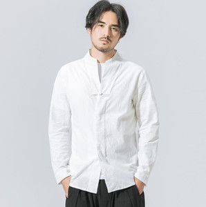 Любой китайский стиль сплошной с длинным рукавом рубашка с длинным рукавом мужчины повседневная стройная пригонка хлопчатобумажные белье рубашки мужчины без воротника