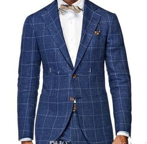 New Popular Design Two Buttons Blue Plaid Wedding Groom Tuxedos Notch Lapel Groomsmen Mens Dinner Blazer Suits (Jacket+Pants+Tie) 384