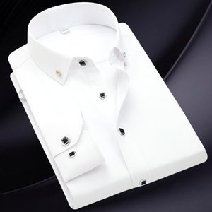 New Korean Slim Men's Long Sleeve Shirt Middle-aged and Young Business Casual Solid Color Diamond Buckle Men's Shirt
