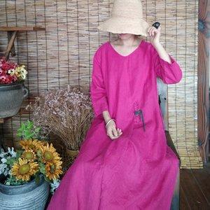 Johnature Rose Red Women Dress Vintage Cotton Linen Robes 2020 Autumn New O-Neck Long Sleeve Patchwork Women Clothing Dresses