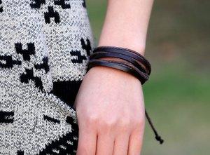Wrap Multilayer Bracelets en cuir véritable Adjust corde tressée Bracelet Infinity Bangle