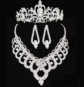 Corona diademi nuziali brillante cristalli in rilievo Wedding parte superiore nuziale collana di capelli della fascia Accessori HT143