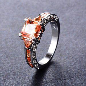 Rongxing Prenses Kadınlar 925 Gümüş Dolgulu Birthstone Kristal Yüzük Kadın Düğün Takı için şampanya Zirkon Kare Rings kesti
