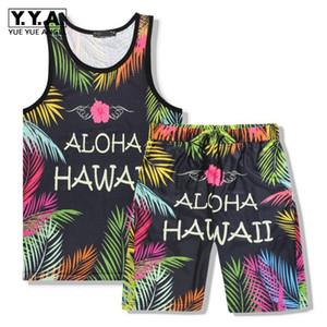 Summer Mens Floral Printed Hawaiian Beach Wear 2pcs Set Gilet senza maniche Elastico in vita Lunghezza ginocchio Pantaloncini da jogging Set tute