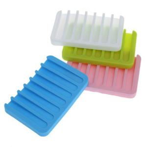 1 Pc Bathroom Silicone Flexible Soap Dishes Storage Holder Soild Color Soapbox Plate Tray Drain Bath Tools Bathroom Accessories