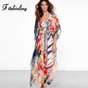 Fitshinling Rainbow gestreiftes langes Kleid Bademode 2019 bunte Chiffon Maxi Kleider Frauen V Hals sexy schiere Boho Robe Pareos Verkauf